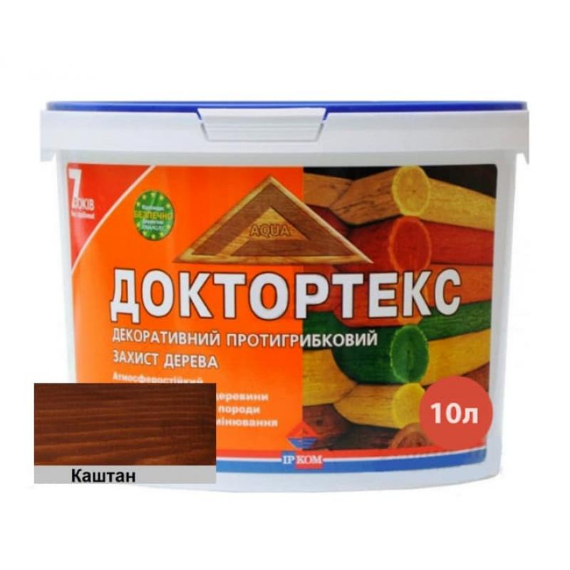 Лазурь-лак антисептический Доктортекс IPKOM IP-013 каштан 10 л