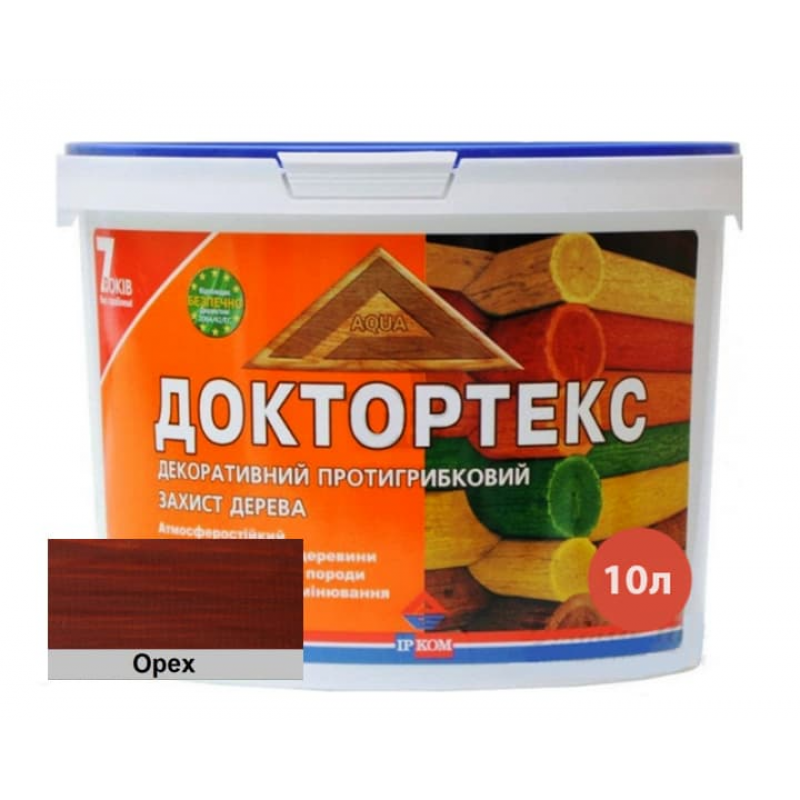 Лазурь-лак антисептический Доктортекс IPKOM IP-013 орех 10 л