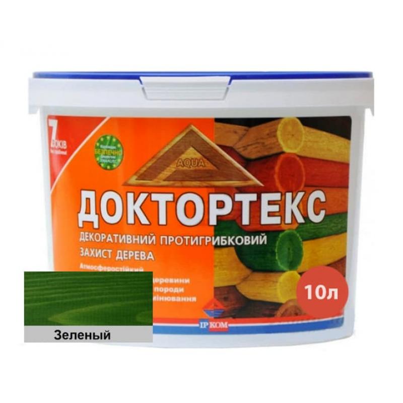 Лазурь-лак антисептический Доктортекс IPKOM IP-013 зеленый 10 л