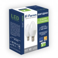 Светодиодная лампа Feron LB-737 6W E14 4000K 2шт/уп