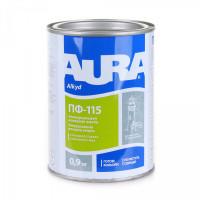 Универсальная алкидная эмаль AURA ПФ-115 коричневая глянцевая 0,9 кг