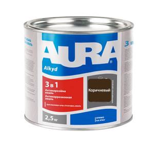 Эмаль антикоррозионная AURA 3в1 коричневая