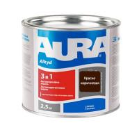 Алкидная эмаль краска AURA 3в1 красно-коричневая