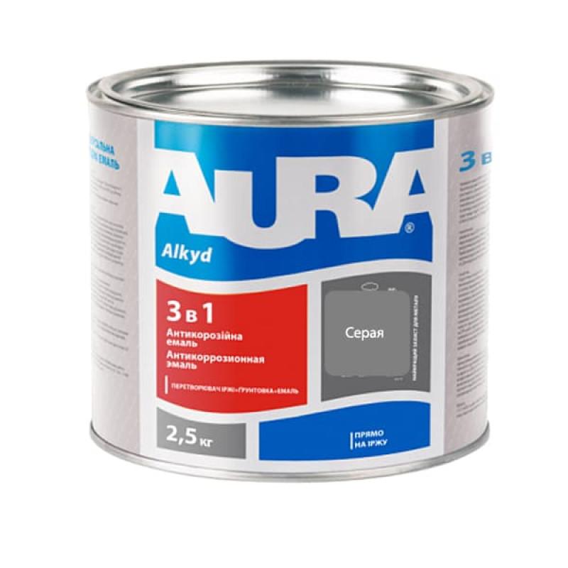 Антикоррозионная грунт-эмаль AURA 3в1 серая 2.5 кг