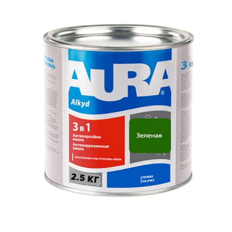 Антикоррозионная грунт-эмаль AURA 3в1 зеленая 2.5 кг