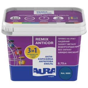 Эмаль антикоррозионная 3 в 1 AURA Antikor 0,75л RAL 5015 синяя