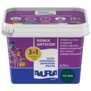 Эмаль антикоррозионная 3 в 1 AURA Antikor 0,75л RAL 6005 зеленая