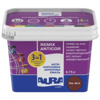 Антикорозийная акриловая эмаль Aura Luxpro Remix Anticor RAL 8012 красно-коричневая 0,75л
