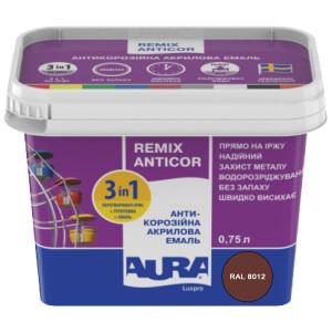 Эмаль антикоррозионная 3 в 1 AURA Antikor 0,75л RAL 8012 красно-коричневая