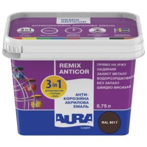 Эмаль антикоррозионная 3 в 1 AURA Antikor 0,75л RAL 8017 темно-коричневая