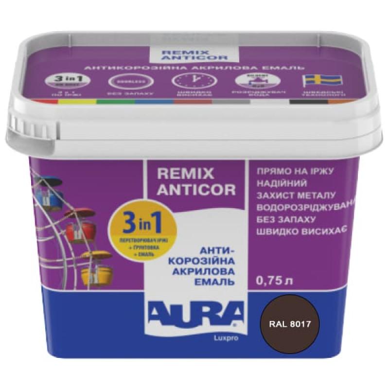 Антикорозийная акриловая эмаль Aura Luxpro Remix Anticor RAL 8017 темно-коричневая 0,75л