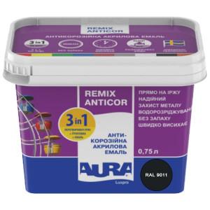 Эмаль антикоррозионная 3 в 1 AURA Antikor 0,75л RAL 9011 черная