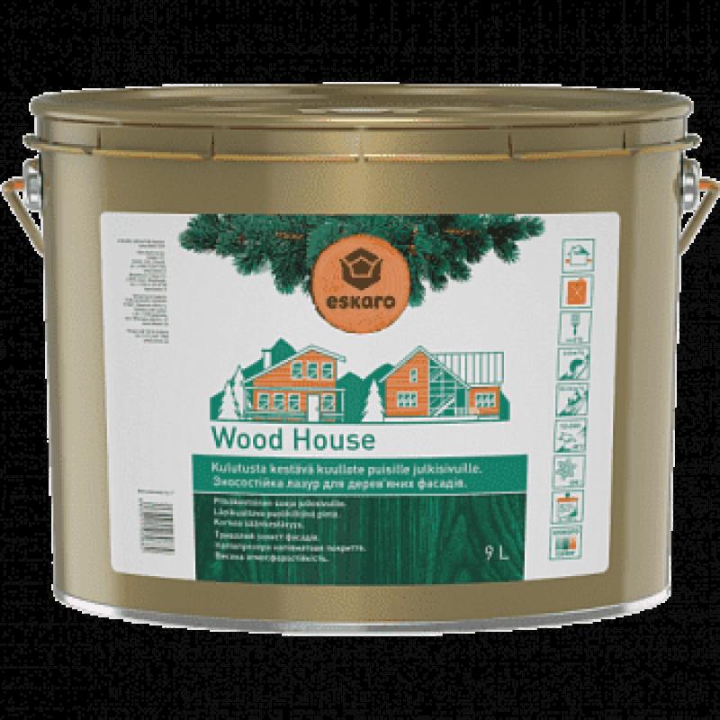 Лазурь для деревянных фасадов Eskaro Wood House полуматовая прозрачная 9 л