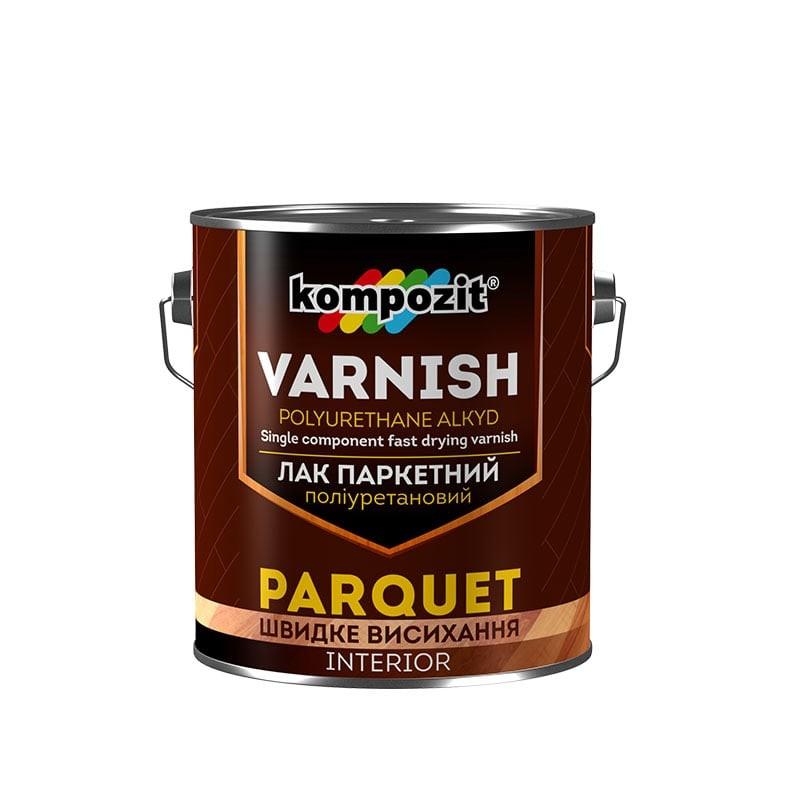 Лак для паркета полиуретановый Kompozit Varnish parquet глянцевый 2.5 л