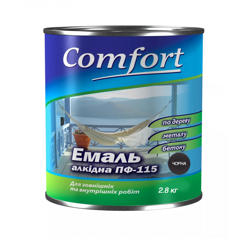 Алкидная эмаль краска Comfort (PolyColor) ПФ 115 черная 2.8 кг